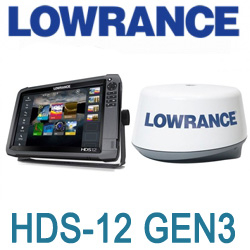 Lowrance HDS-12 Gen3 ROW no Transducer with 3G Radar Bundle